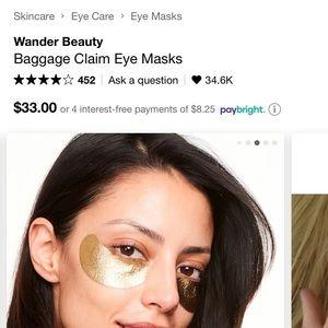 🦋2 for $25🦋 Wander Beauty Gold Eye Masks